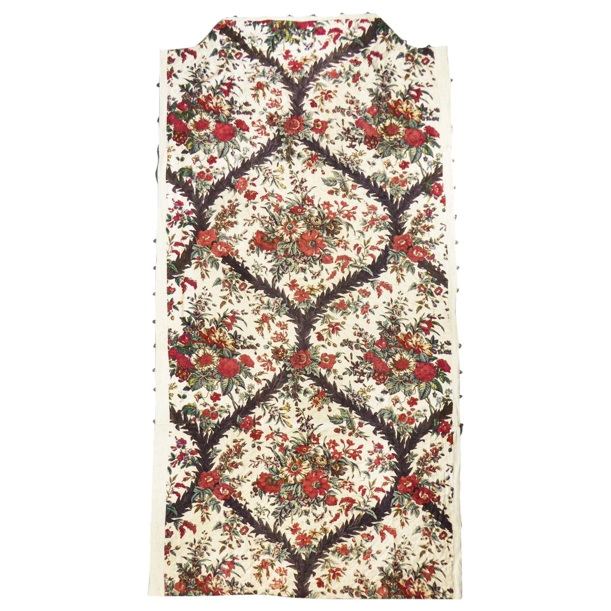 A Chintz block printed quilted Cotton toile -Alsace or Neuchâtel circa 1810