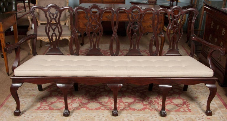A 19th century mahogany four-seat settee with a carved open back and caned seat. The arms are shaped with scroll ends and the seat frame is mounted on cabriole legs with ball and claw feet. The cushion is later.