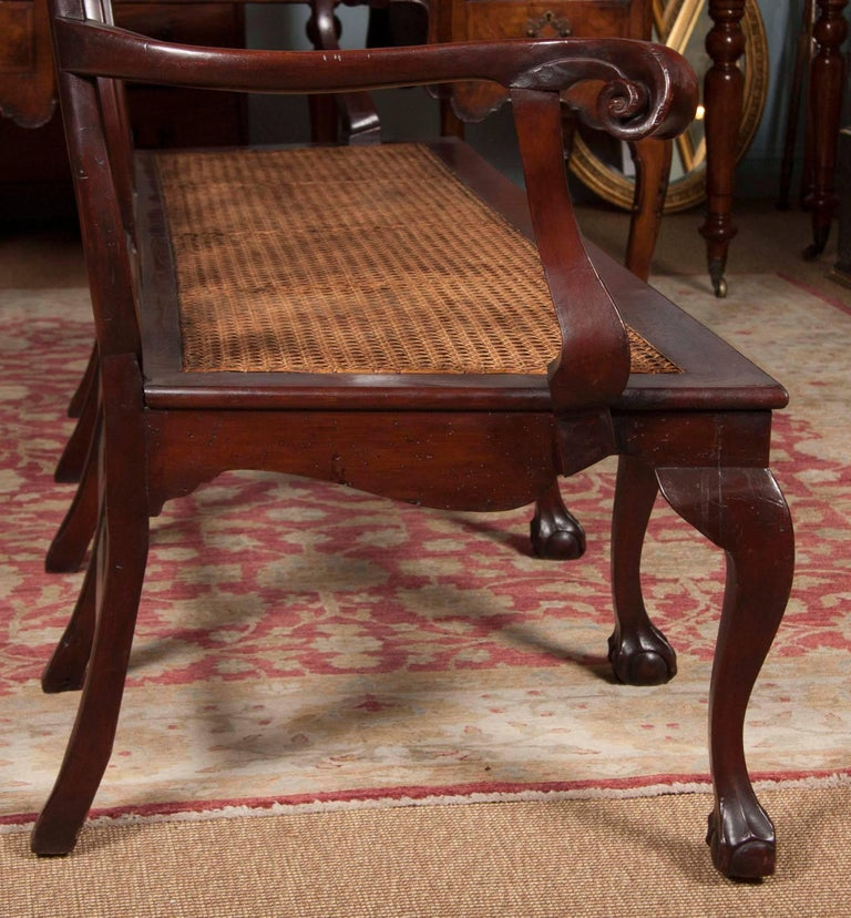 19th Century Chippendale Style Mahogany Carved Back Settee For Sale