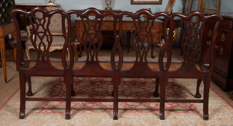 Chippendale Style Mahogany Carved Back Settee For Sale 2