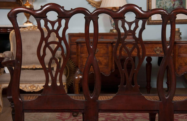 Chippendale Style Mahogany Carved Back Settee For Sale 3