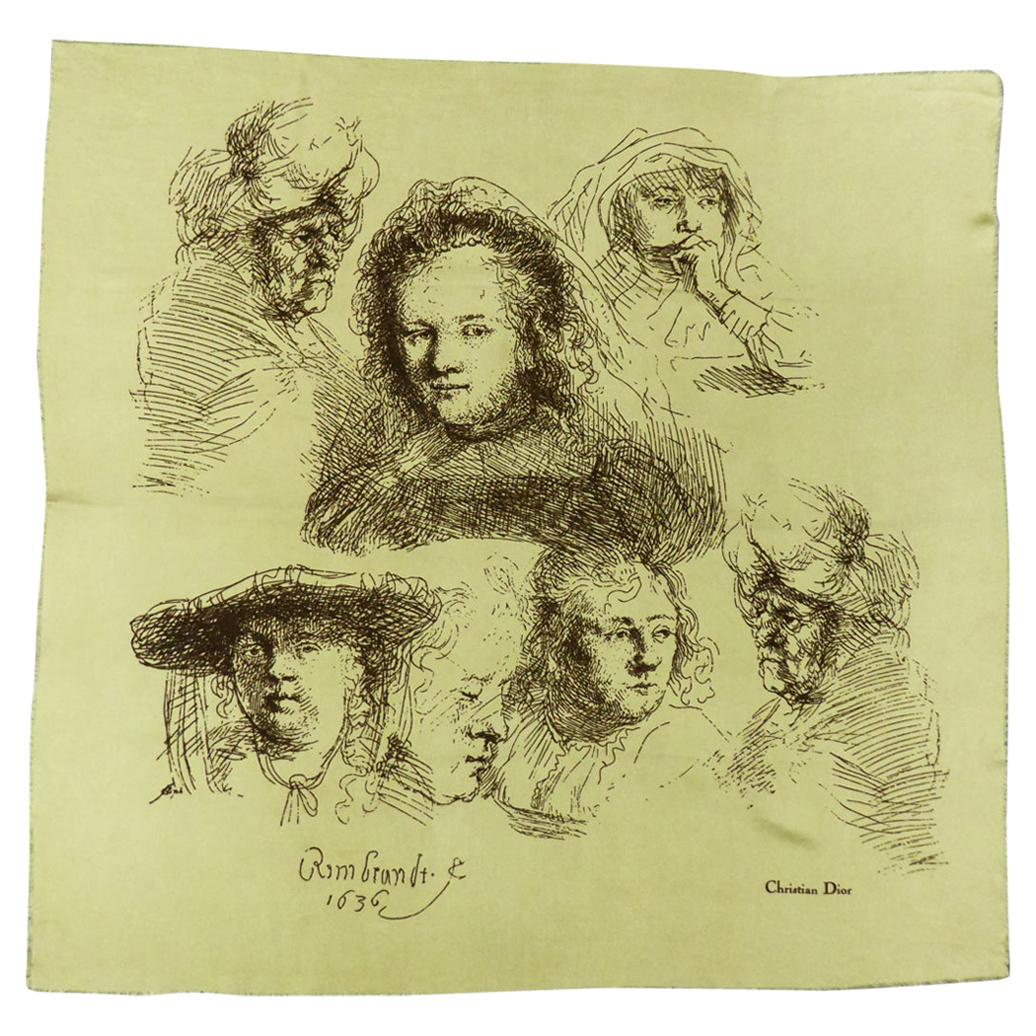 """A Christian Dior Carré or Scarf Titled """"Rembrandt 1636"""" Circa 1960/1970"""