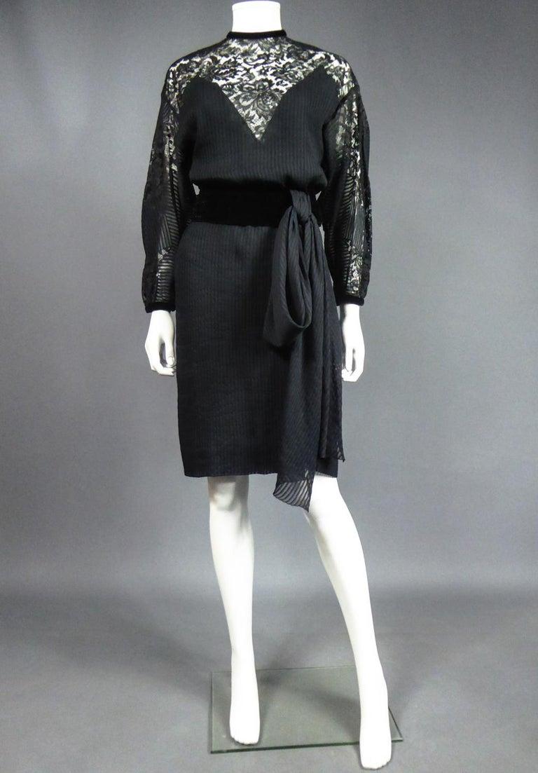 A Christian Dior-Marc Bohan Little Black Dress numbered 15843 Spring Summer 1982 For Sale 3