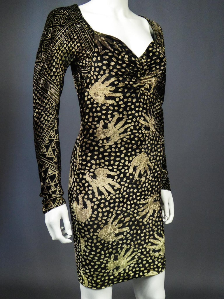A Christian Lacroix Dress in Printed Velvet Circa 1991/2000 For Sale 6