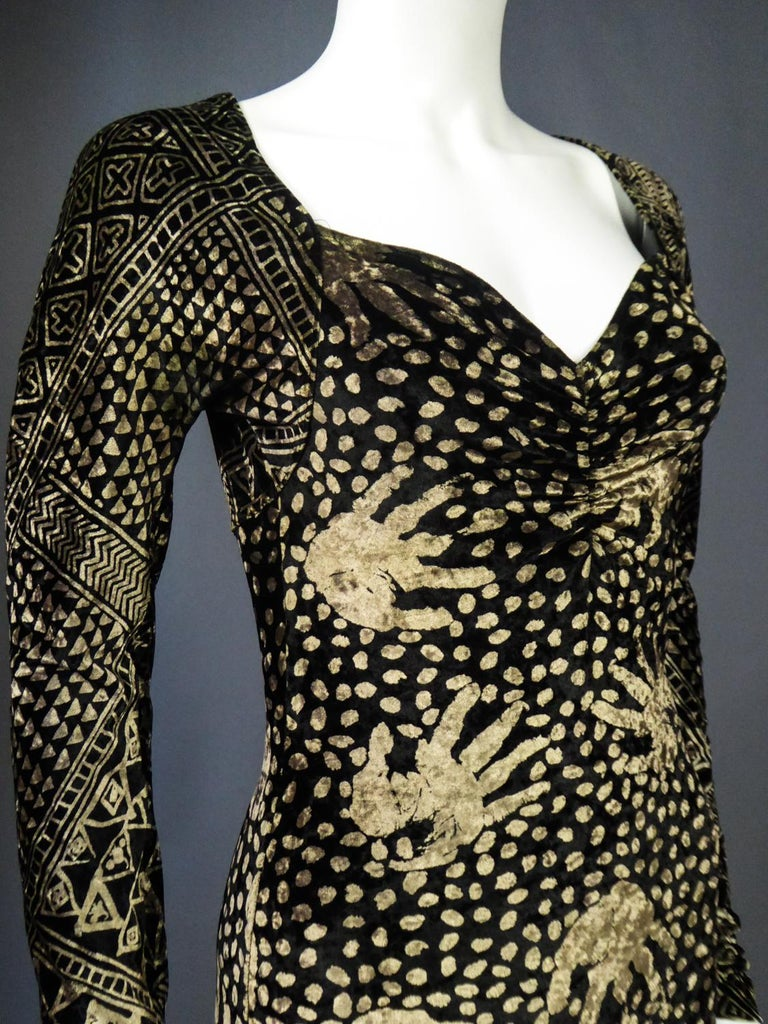 A Christian Lacroix Dress in Printed Velvet Circa 1991/2000 For Sale 7