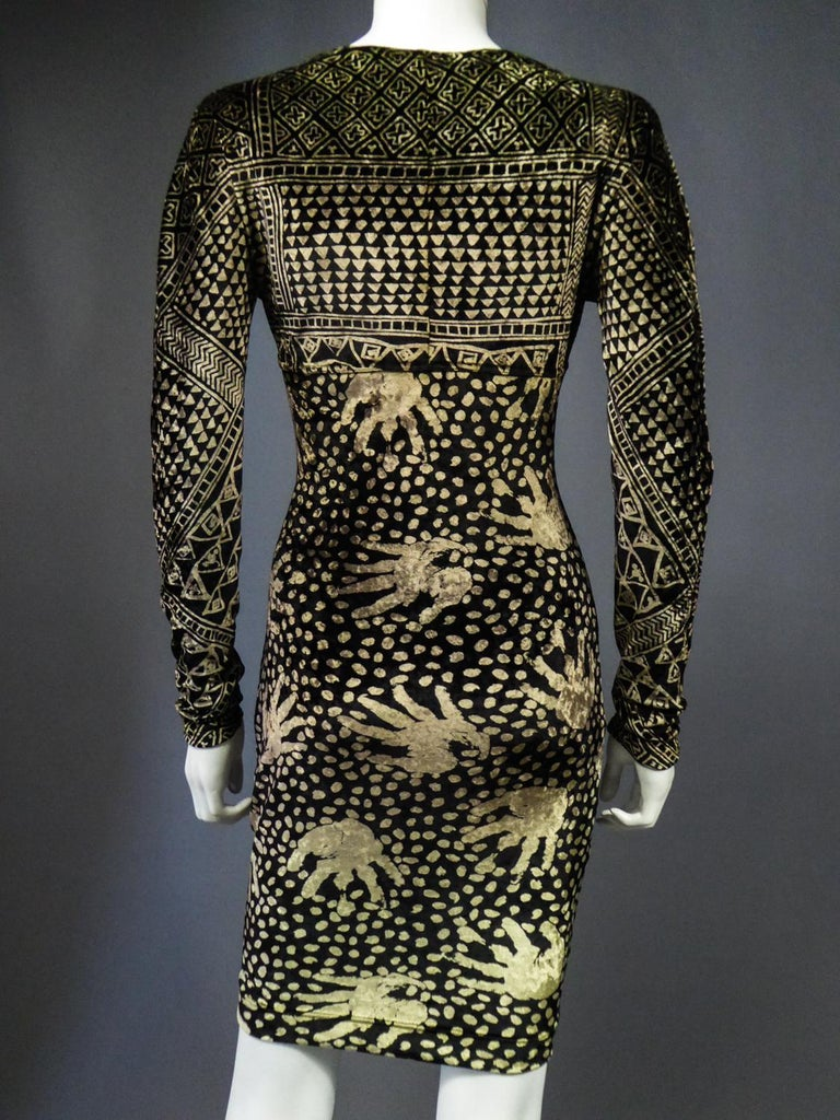 A Christian Lacroix Dress in Printed Velvet Circa 1991/2000 For Sale 11
