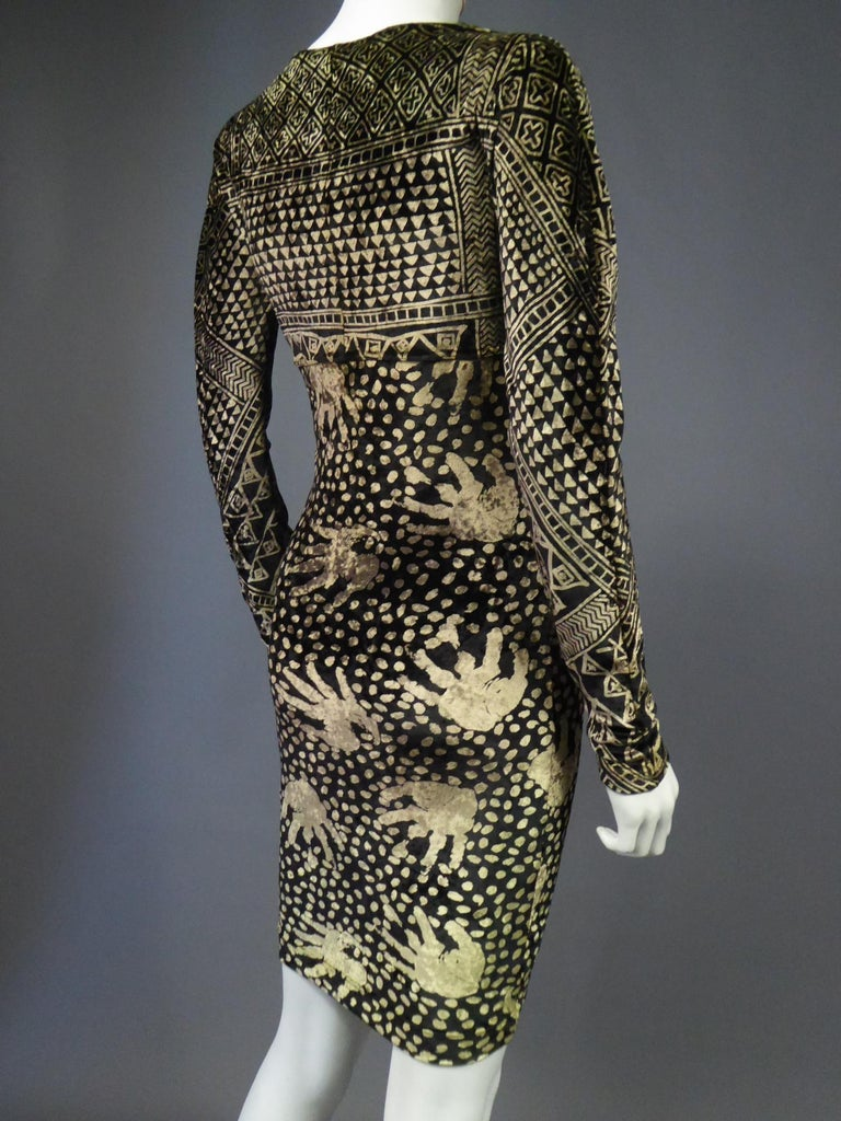 A Christian Lacroix Dress in Printed Velvet Circa 1991/2000 For Sale 13