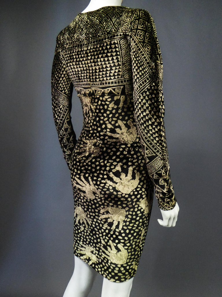 A Christian Lacroix Dress in Printed Velvet Circa 1991/2000 For Sale 14