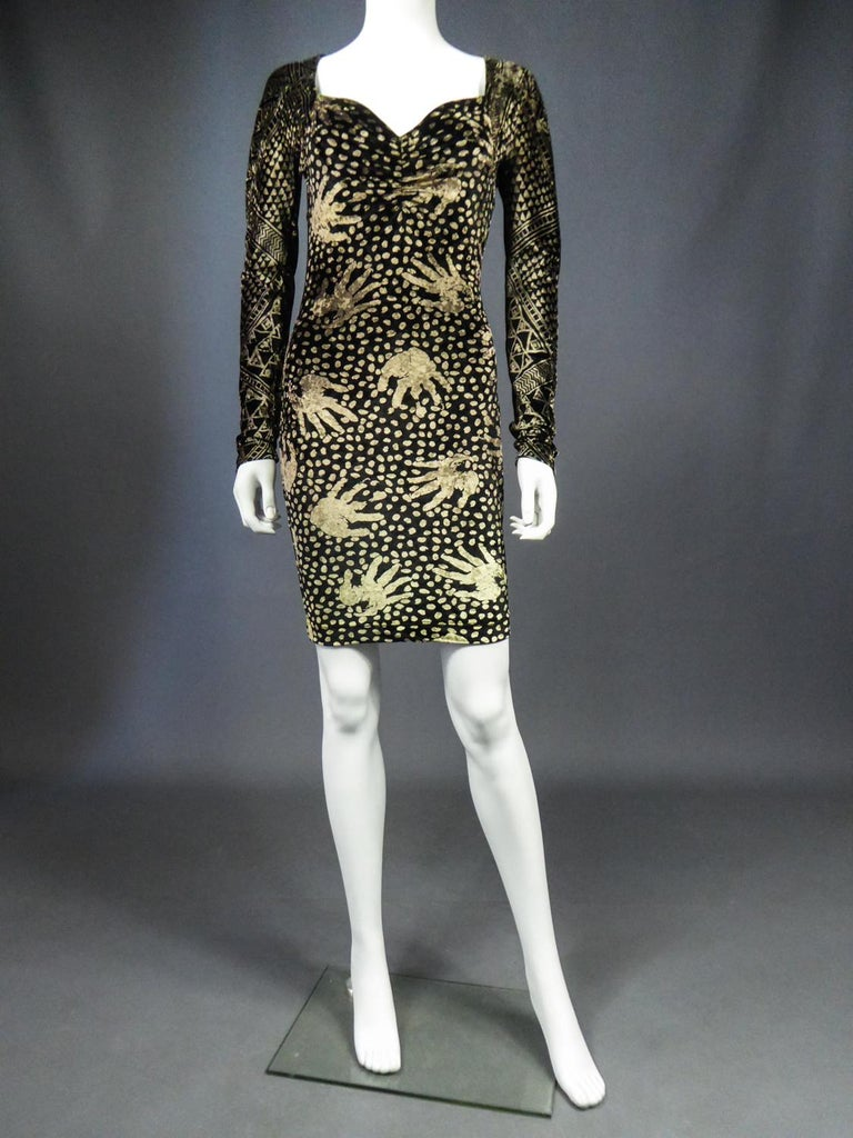 A Christian Lacroix Dress in Printed Velvet Circa 1991/2000 For Sale 1
