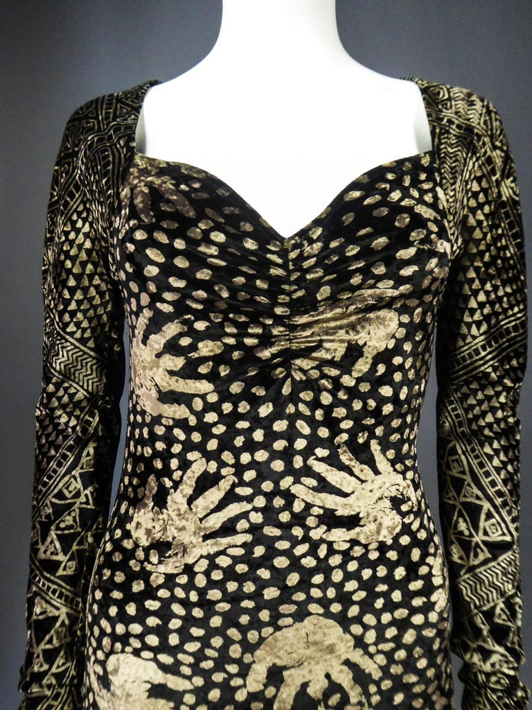 A Christian Lacroix Dress in Printed Velvet Circa 1991/2000 For Sale 2