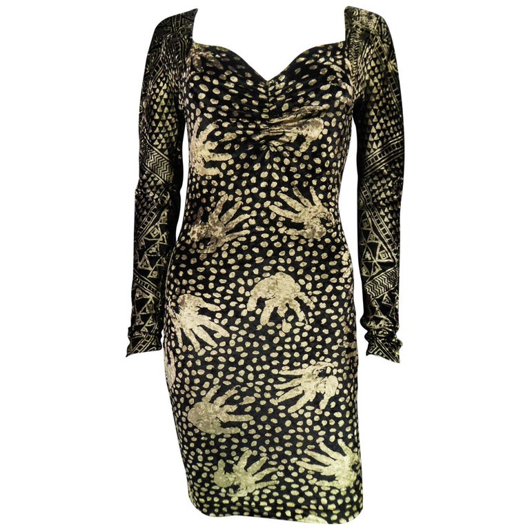 A Christian Lacroix Dress in Printed Velvet Circa 1991/2000 For Sale