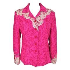 A Christian Lacroix jacket in blistered silk Fuschia Circa 2000