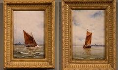 "Oil Painting Pair by A. Christiansen ""Off Jutland"""