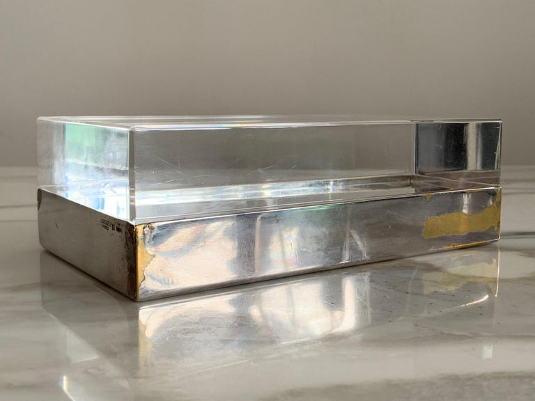 Mid-Century Modern Christofle Silver Plate And Lucite Decorative Box For Sale
