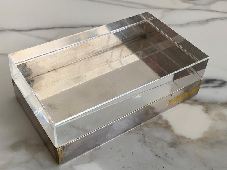 French Christofle Silver Plate And Lucite Decorative Box For Sale
