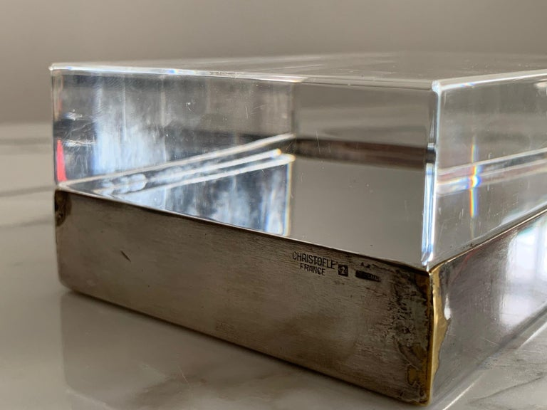 Christofle Silver Plate And Lucite Decorative Box In Good Condition For Sale In St.Petersburg, FL
