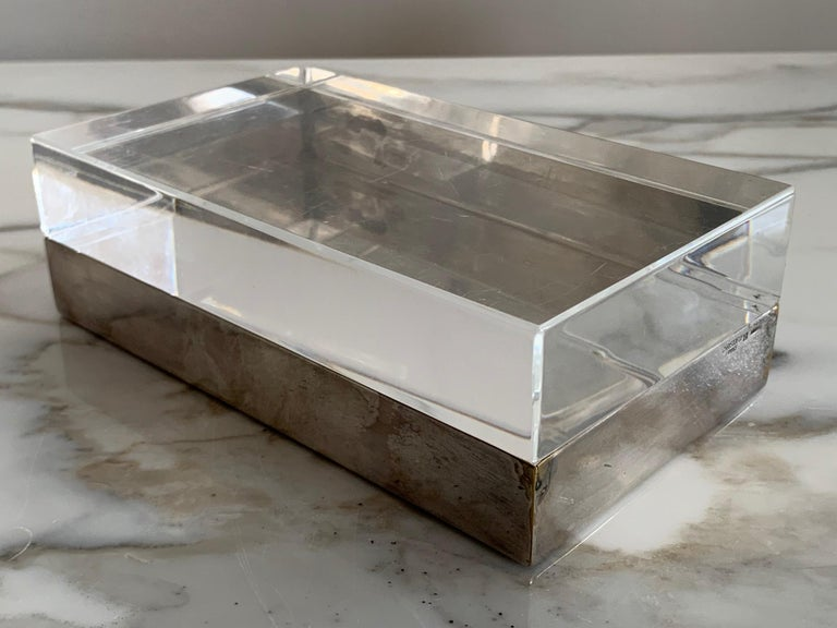 Christofle Silver Plate And Lucite Decorative Box For Sale 1