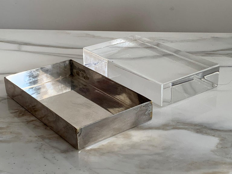 Christofle Silver Plate And Lucite Decorative Box For Sale 3