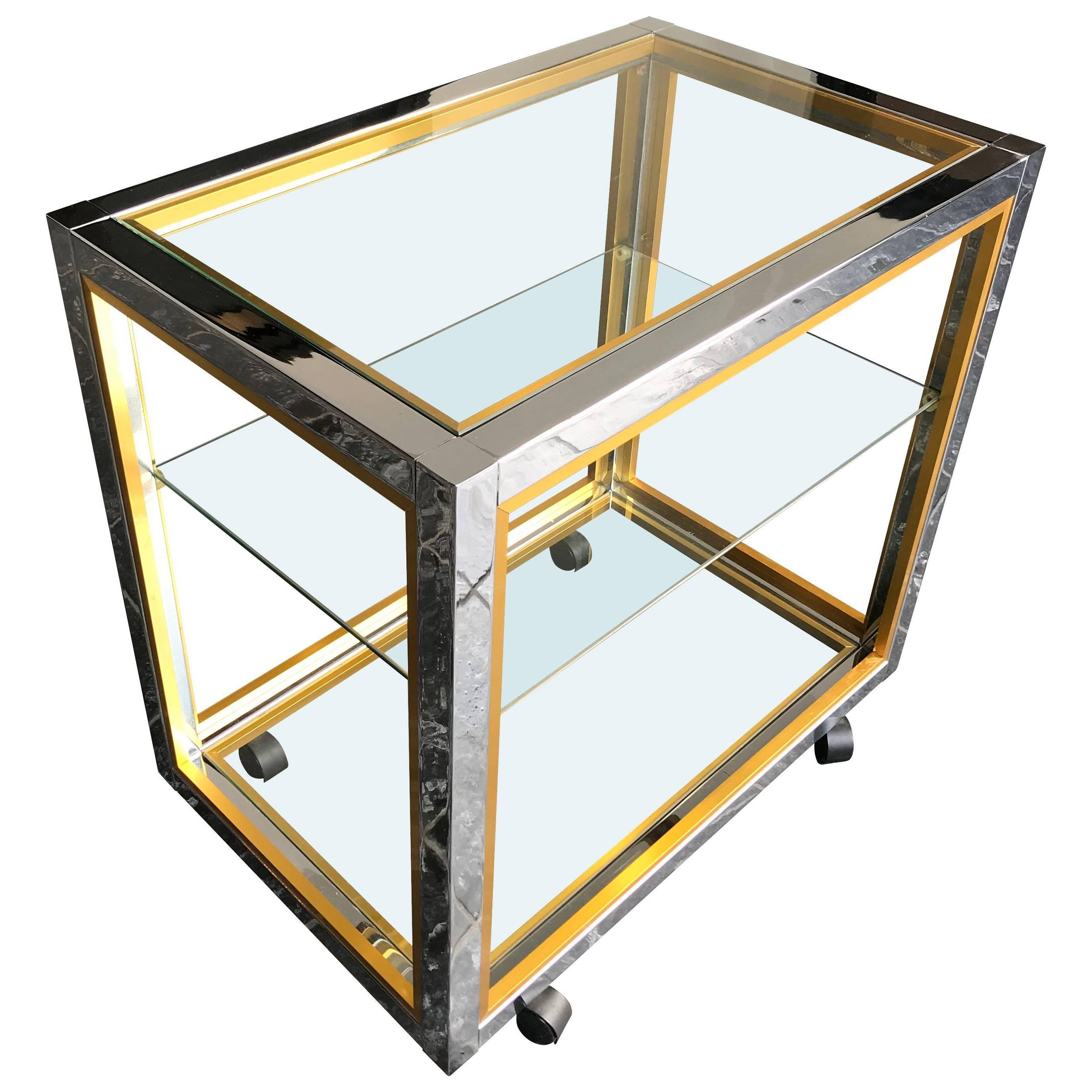 Chrome and Brass Bar Cart by Zevi