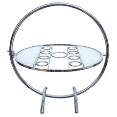 Chrome Art Deco Gyroscopic Tilt-Top Cocktail Table