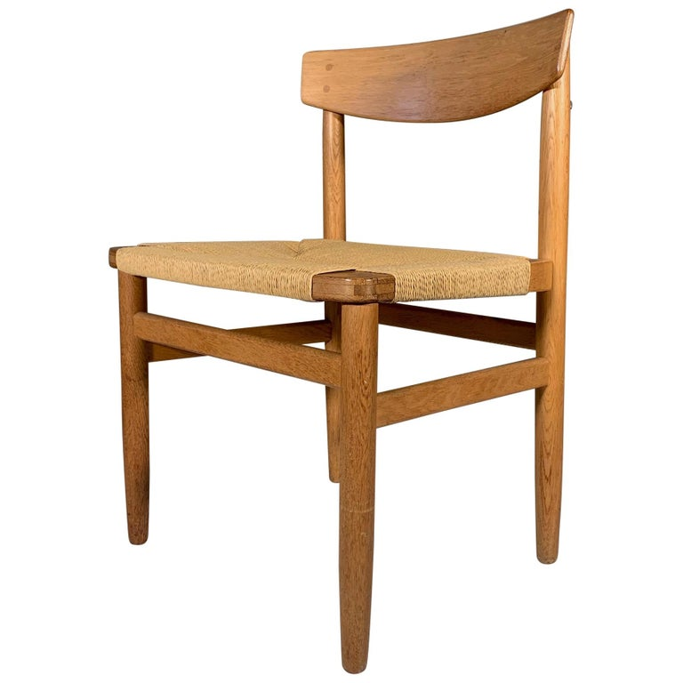 Classic Børge Mogensen Oak and Papercord Chair For Sale