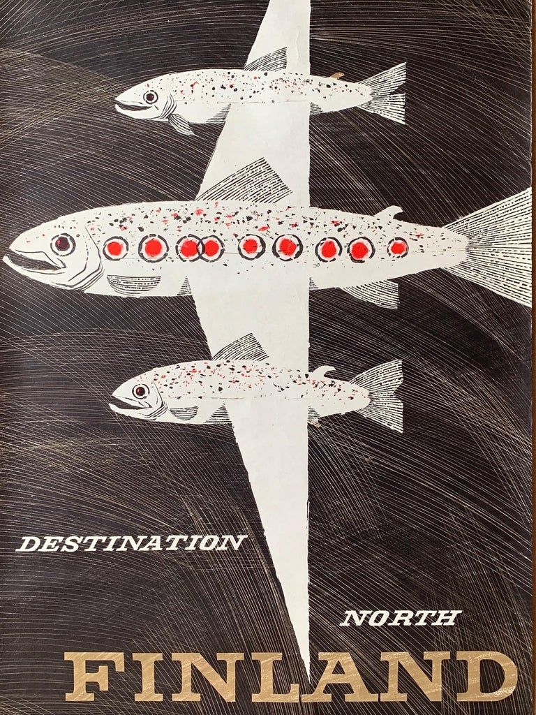 Classic Erik Bruun Finnair Vintage Travel Poster, 1958 For Sale 1