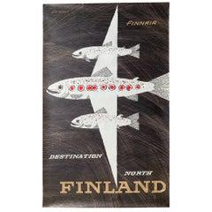 Classic Erik Bruun Finnair Vintage Travel Poster, 1958