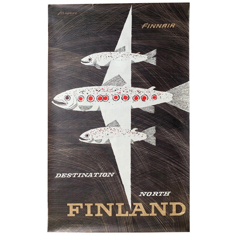 Classic Erik Bruun Finnair Vintage Travel Poster, 1958 For Sale
