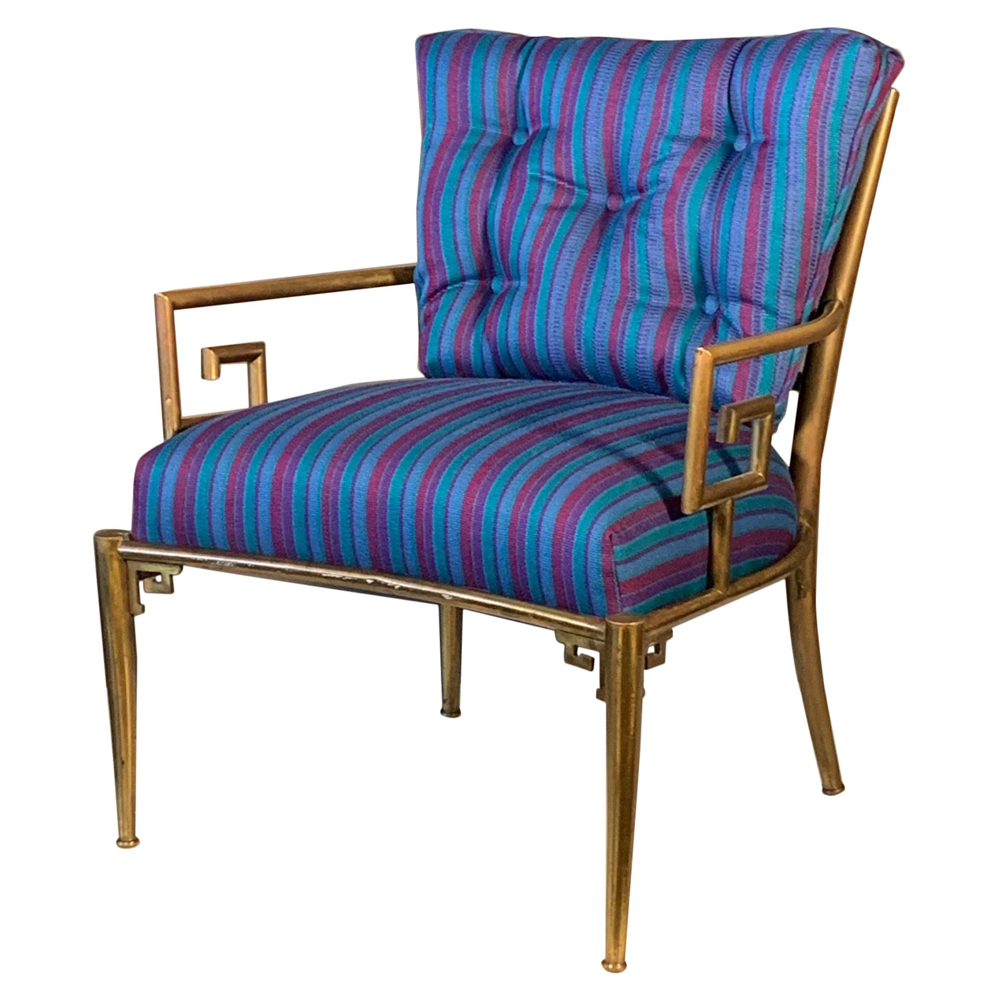 Classic Greek Key Brass Armchair