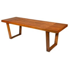 Classic Midcentury Slat Bench