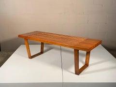 A Classic Mid Century Slat Bench