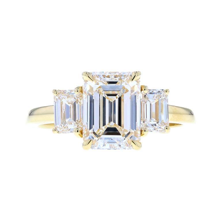 Classic Three-Stone Emerald Cut Diamond Engagement Ring, 2.20 Carat Center