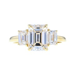 Classic Three-Stone Emerald Cut Diamond Engagement Ring, 2.20 Carat Center