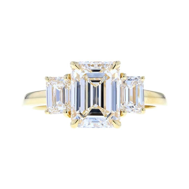 Classic Three-Stone Emerald Cut Diamond Engagement Ring, 2.20 Carat Center For Sale