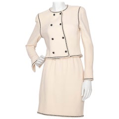 A Classic Vintage Ivory Chanel Boucle Skirt Suit XS