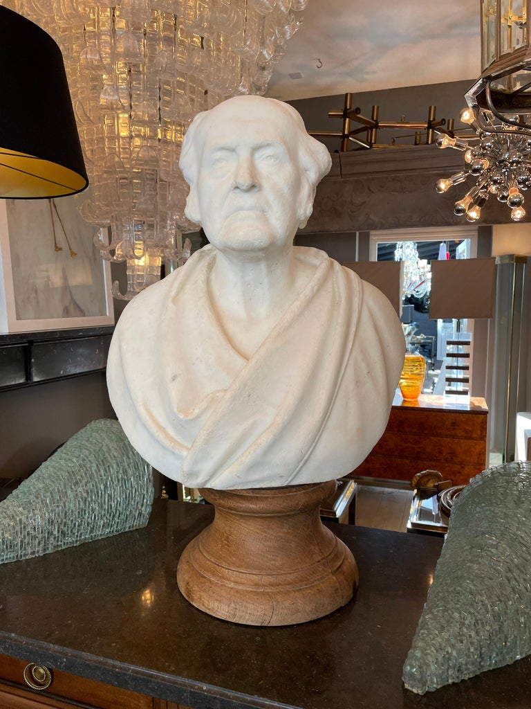 Greco Roman Classical Antique Statuary Marble Bust For Sale