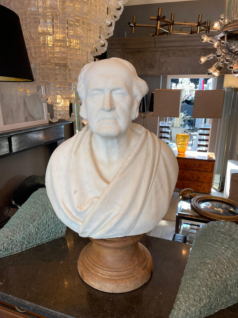 Italian Classical Antique Statuary Marble Bust For Sale