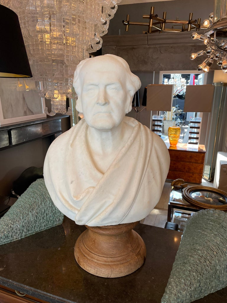 Hand-Carved Classical Antique Statuary Marble Bust For Sale