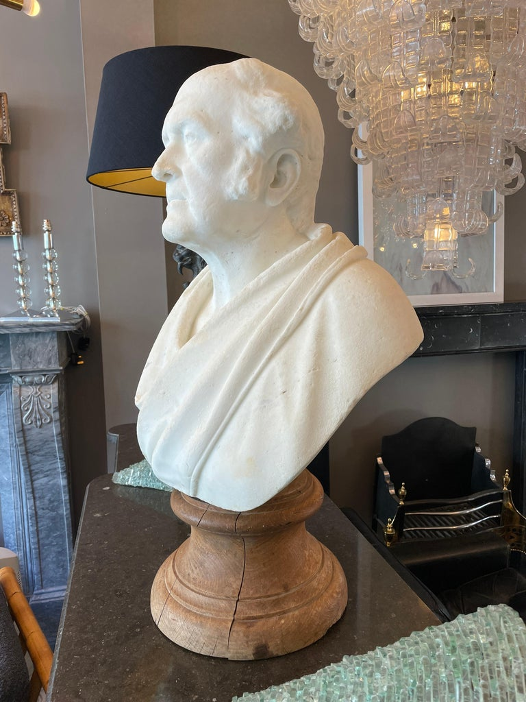 Late 19th Century Classical Antique Statuary Marble Bust For Sale