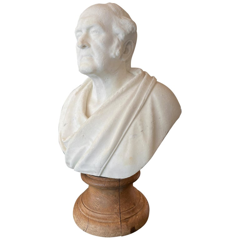 Classical Antique Statuary Marble Bust For Sale