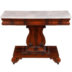 A Classical Mahogany and Marble Top Lyre Side Table, c.1840