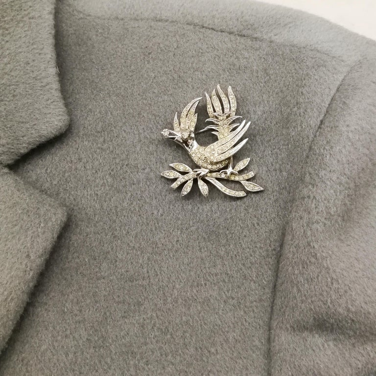 A clear paste 'bird with diamond' brooch, Christian Dior by Mitchel Maer, 1950s For Sale 6