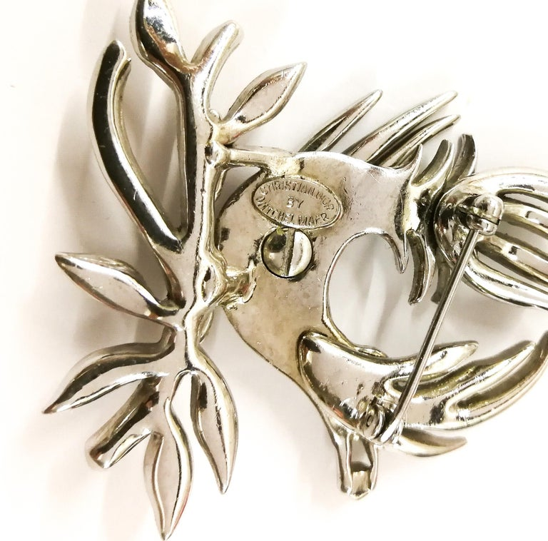 A clear paste 'bird with diamond' brooch, Christian Dior by Mitchel Maer, 1950s For Sale 3