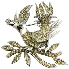 A clear paste 'bird with diamond' brooch, Christian Dior by Mitchel Maer, 1950s