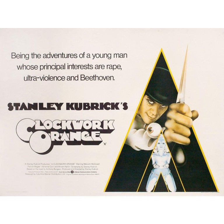 Original 1972 British quad poster by Philip Castle for the film A Clockwork Orange directed by Stanley Kubrick with Malcolm McDowell / Patrick Magee / Michael Bates / Warren Clarke. Fine condition, linen-backed. This poster has been professionally