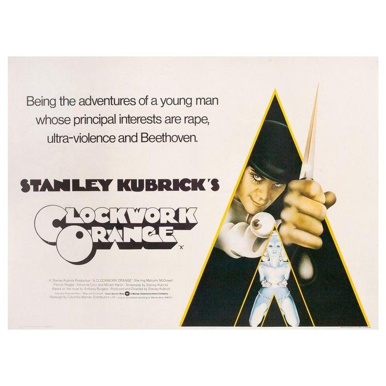 Clockwork Orange 1972 British Quad Film Poster For Sale