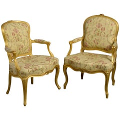 Close Pair of Louis XV Giltwood Rococo Fauteuil Armchairs