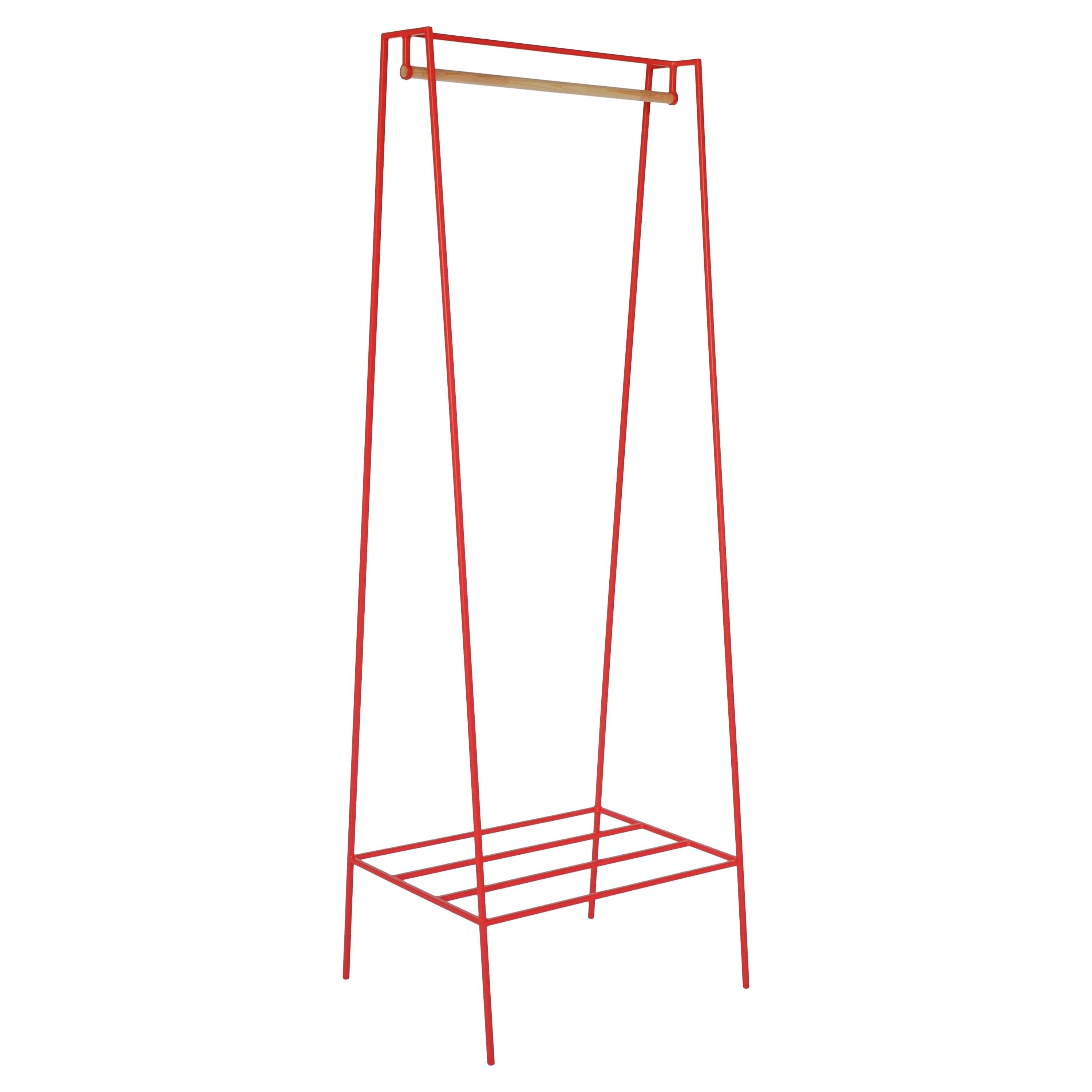 'A' Clothes Rail in Red with a Pine Pole