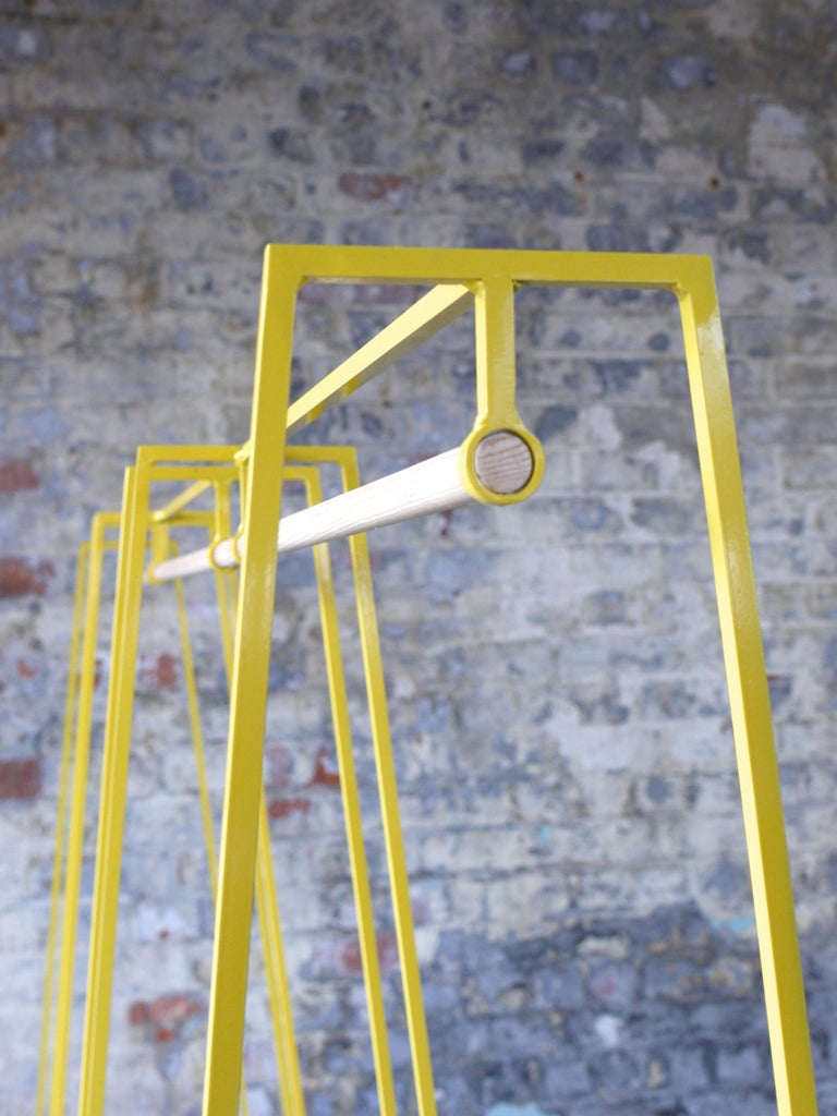 Modern 'A' Clothes Rail in Yellow with a Pine Pole For Sale