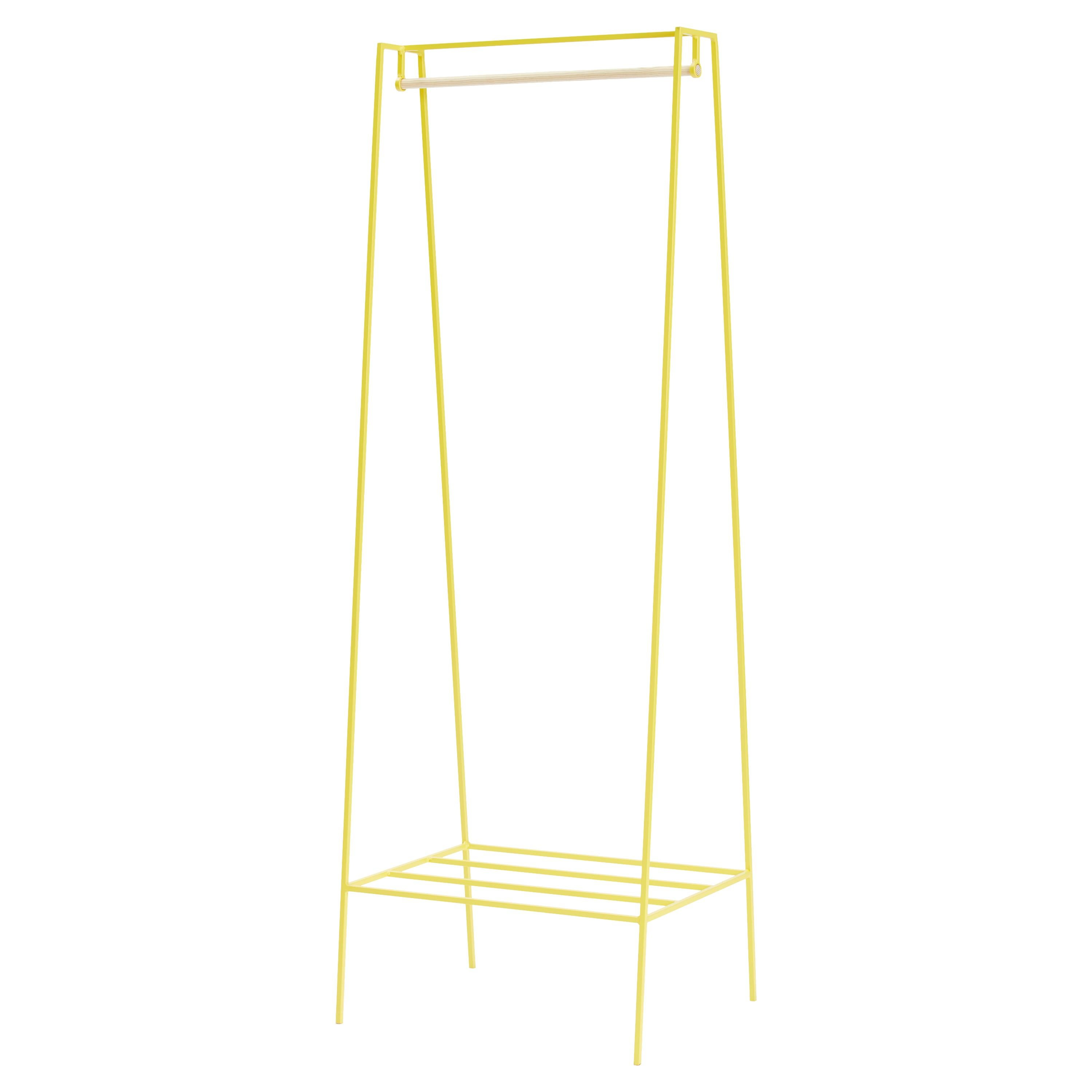 'A' Clothes Rail in Yellow with a Pine Pole